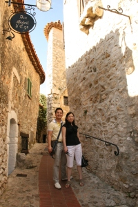 Hubby and me wandering through the streets of Éze