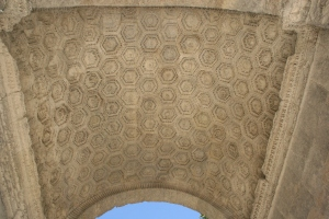 The intricate decorations on the arch